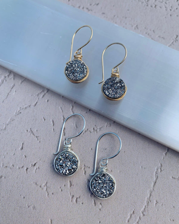 • LUSTER • silver or gold druzy earrings