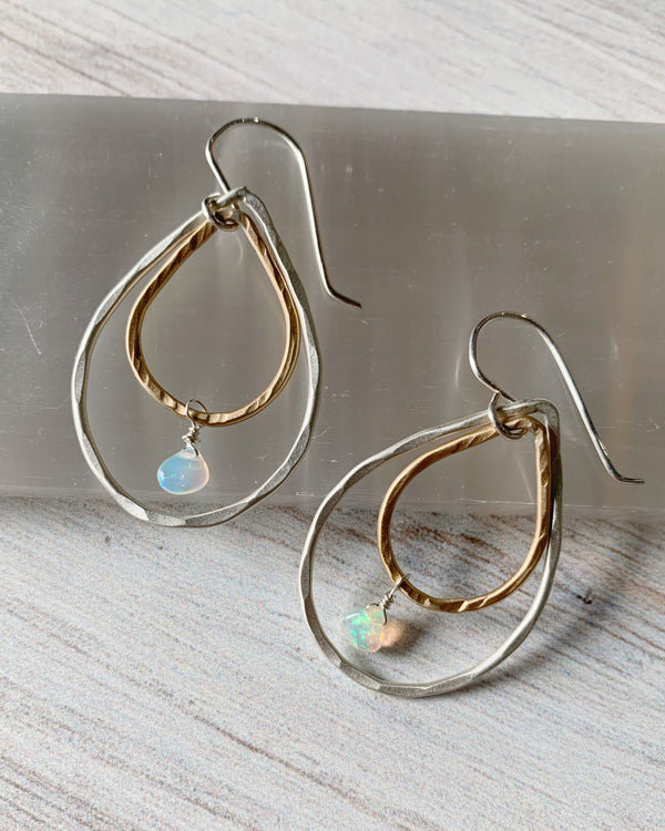 • DOUBLE DROP • ethiopian opal + mixed metal earrings