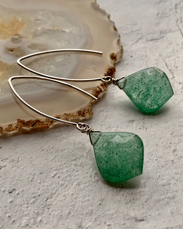 • SWEET JANE •  aventurine silver earrings