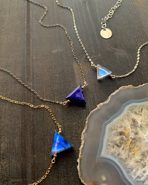 • AEON • lapis-lazuli + silver and gold necklace