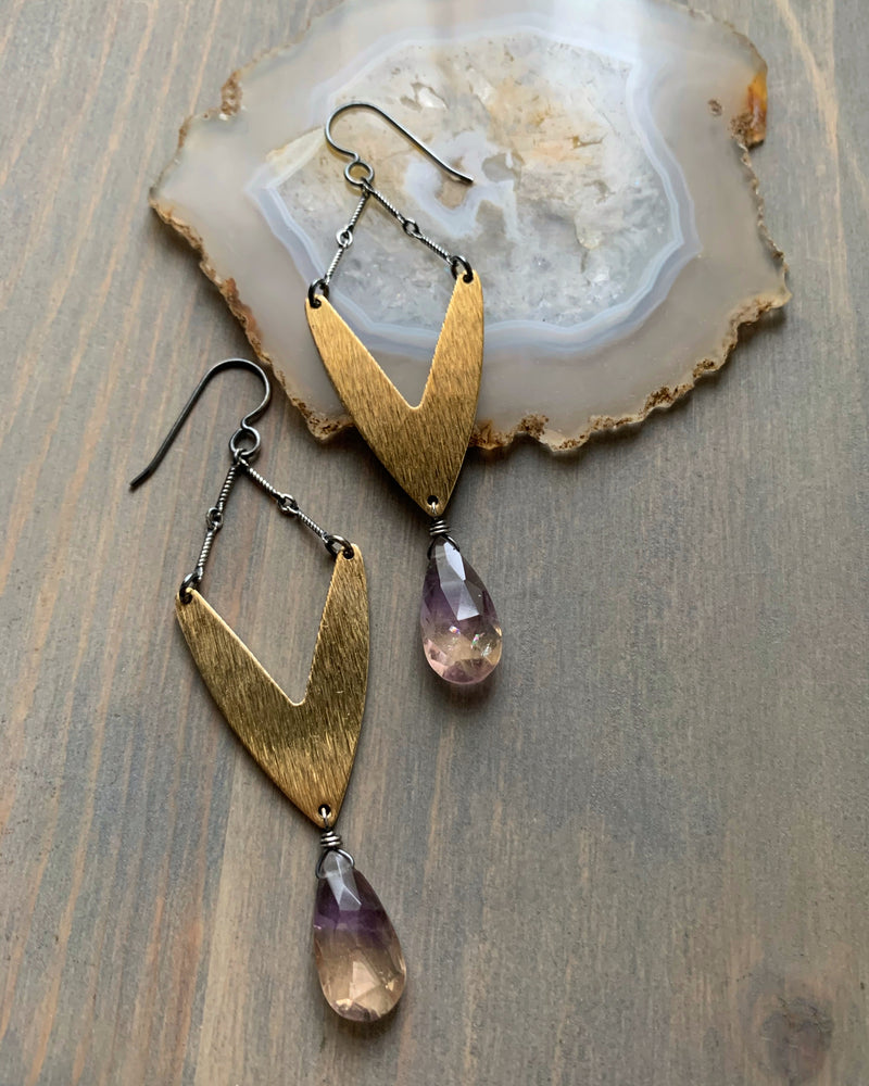 • VOYAGER • ametrine mixed metal earrings