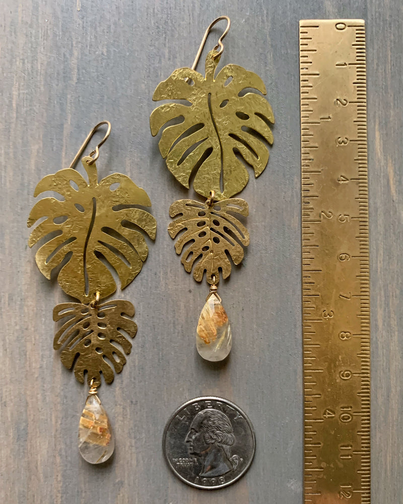 • DOUBLE MONSTERA • rutilated quartz gold earrings