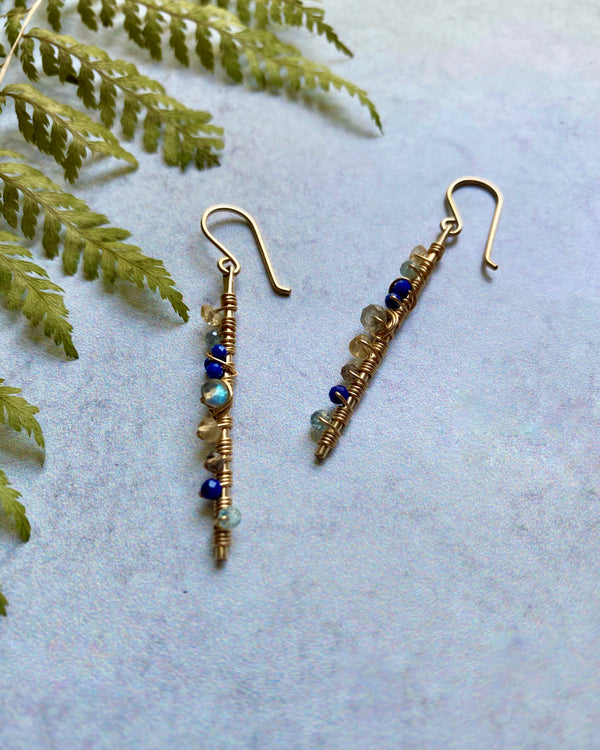 • ROYAL • multi gemstone + 14KGF earrings