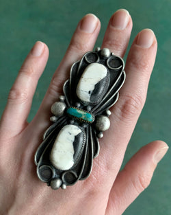 • VICTORIA • white buffalo, turquoise + silver ring