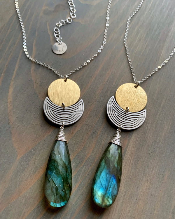 • FULL MOON'S SHADOW • labradorite mixed metal necklace