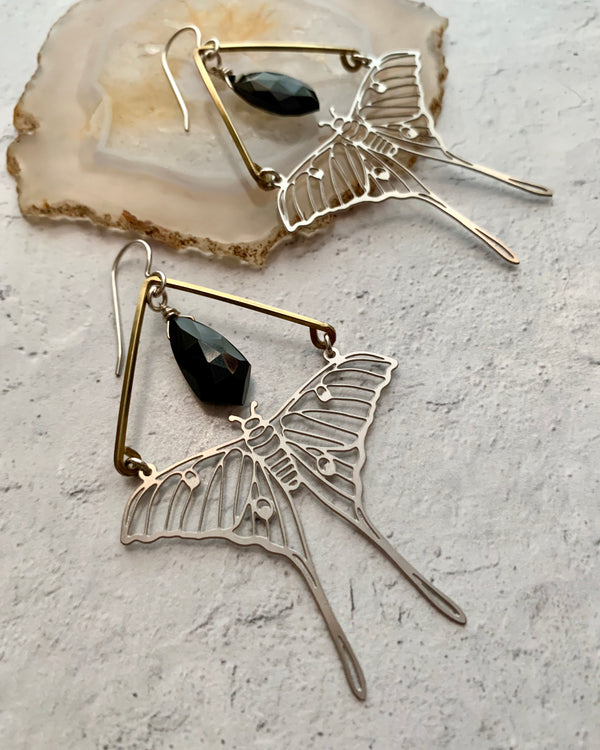 • ACTIAS •  spinel mixed metal earrings