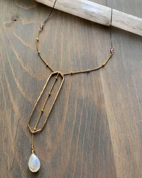 "• GEOMETRIC WINDOW • 16"" rainbow moonstone gold Y-necklace"