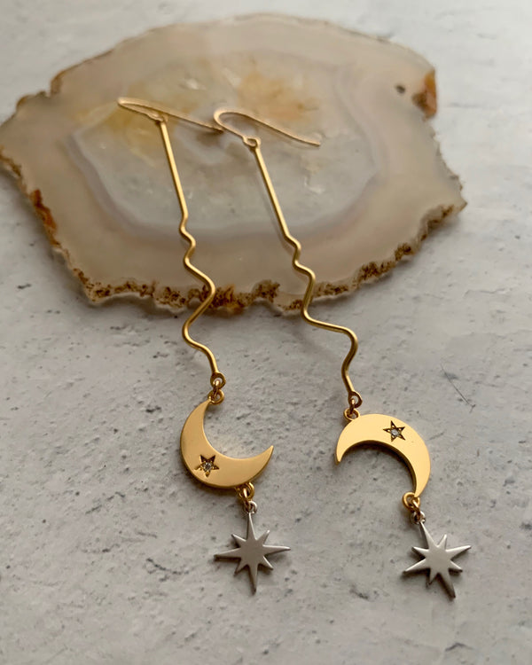 • EVENING STAR FLOW •  mixed metal dangle earrings