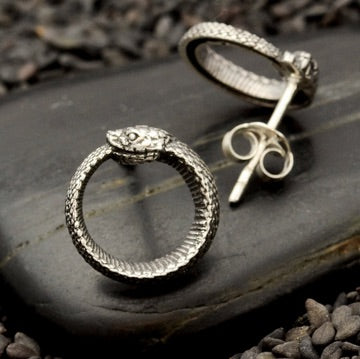 • OUROBOROS SNAKE • silver stud earrings