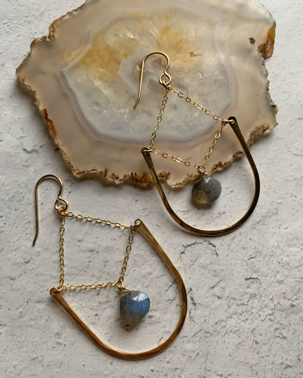 • AURORA • SILVER or GOLD LABRADORITE EARRINGS