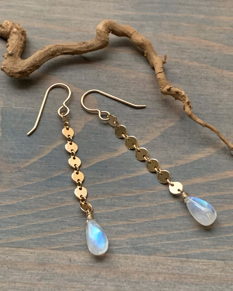• MOONRISE • rainbow moonstone dangle earrings