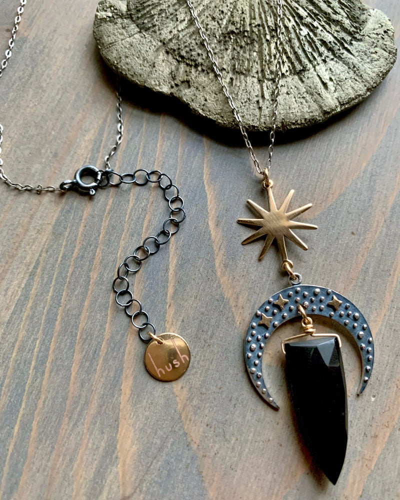 • CELESTIAL NAVIGATION • black spinel spear mixed metal necklace