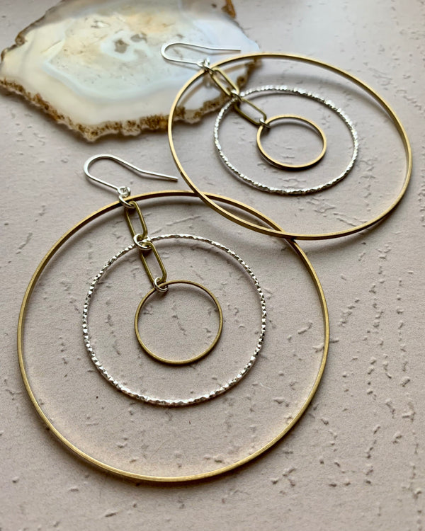 • KINETIC •  mixed metal hoop earrings
