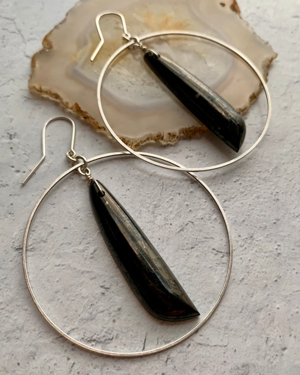 • ECLIPSE •  shungite medium silver hoop earrings