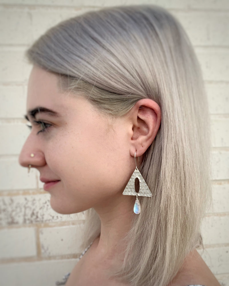• BEDOUIN • rainbow moonstone dangle earrings