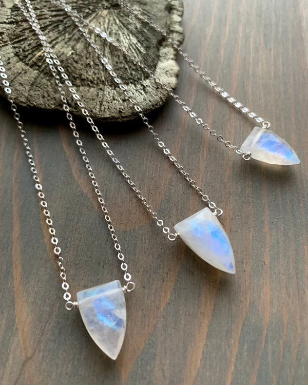• STRAY • rainbow moonstone + silver necklace