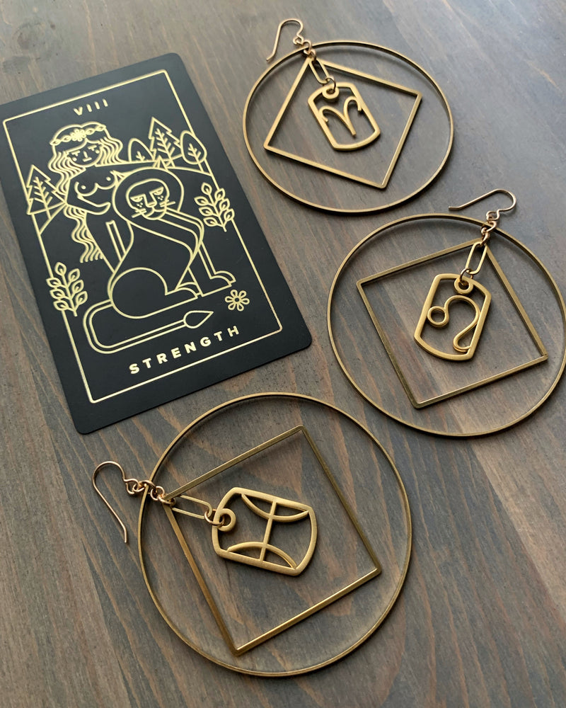 • ZODIAC GOLD •  mixed metal hoop earrings