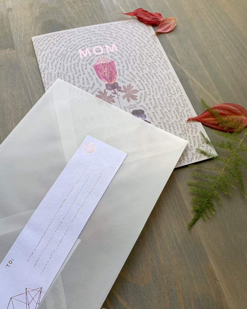 • MOTHER SCRIPT • luxe note card