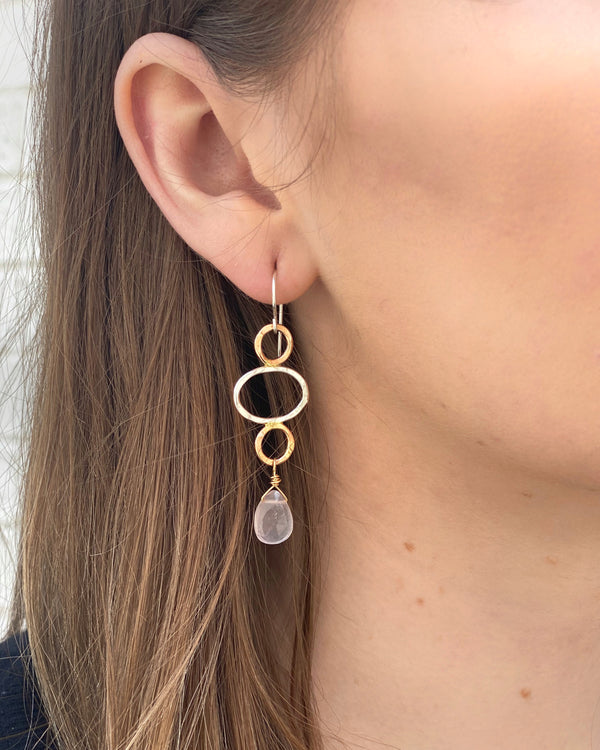 • HAMMERED 3 RING • rose quartz + mixed metal earrings