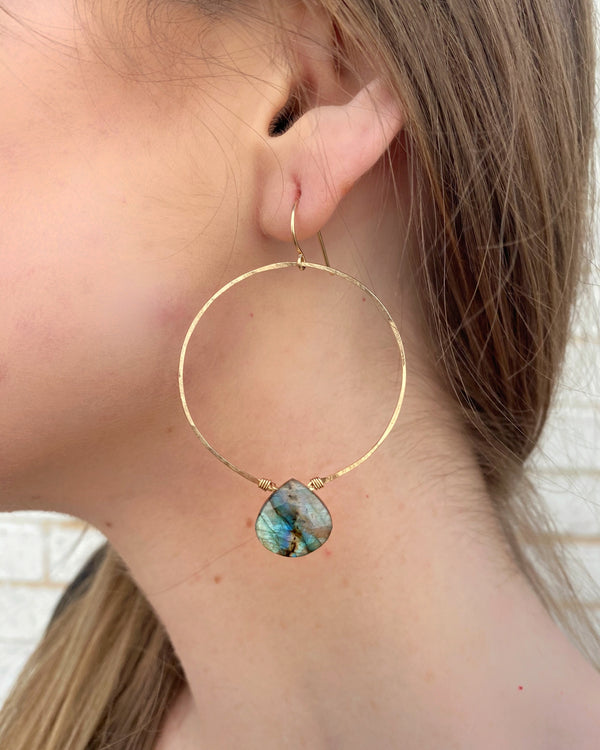 • LUXE HOOPS • labradorite + gold hoop earrings