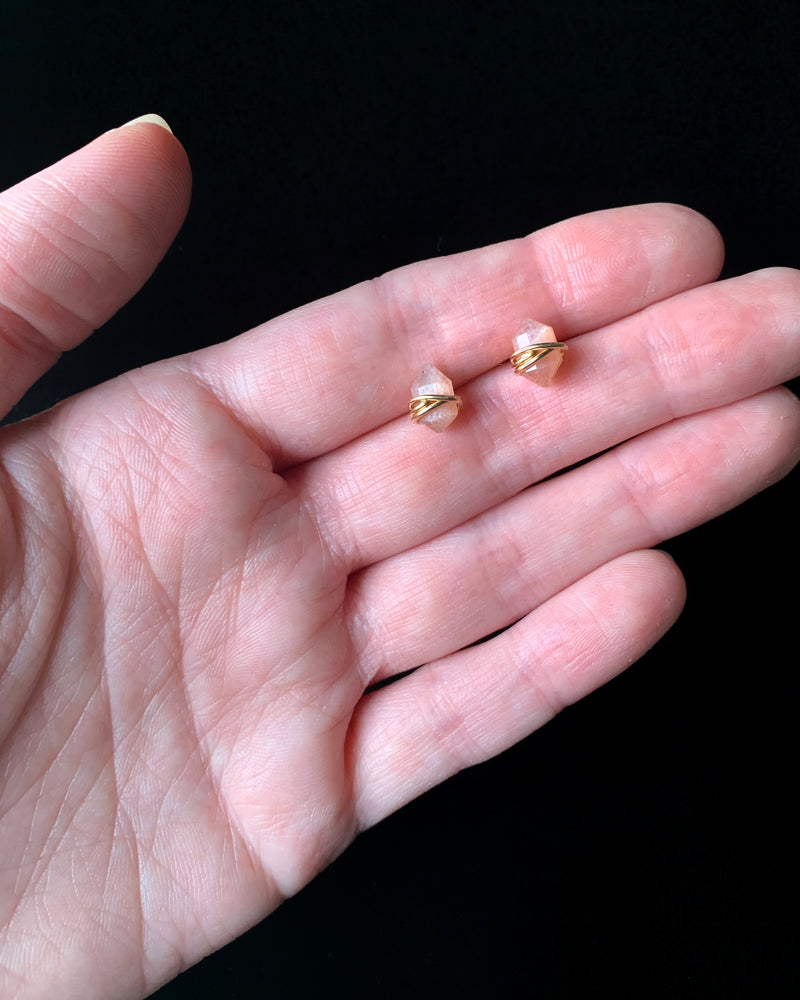 • PIKE • peach moonstone gold stud earrings