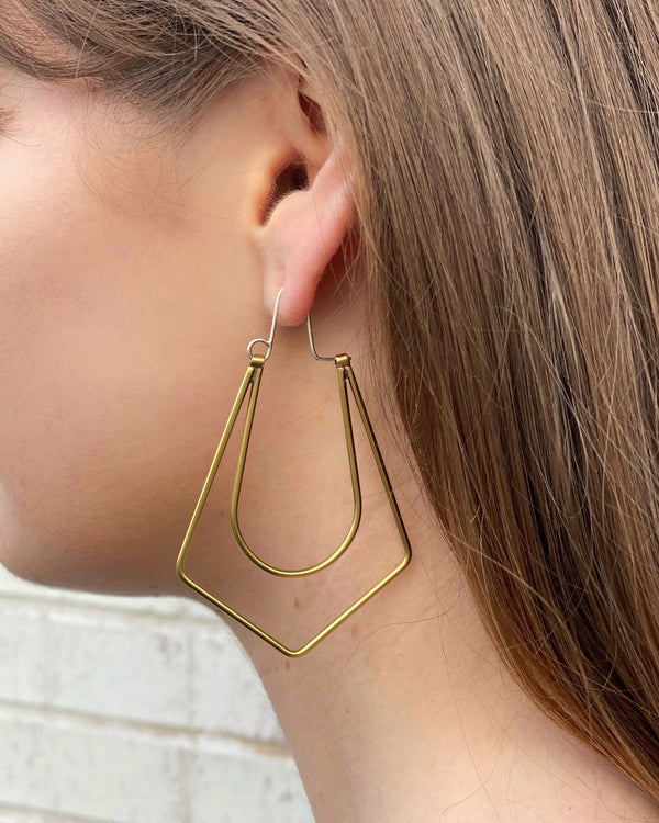 • NINA HOOPS • mixed metal earrings