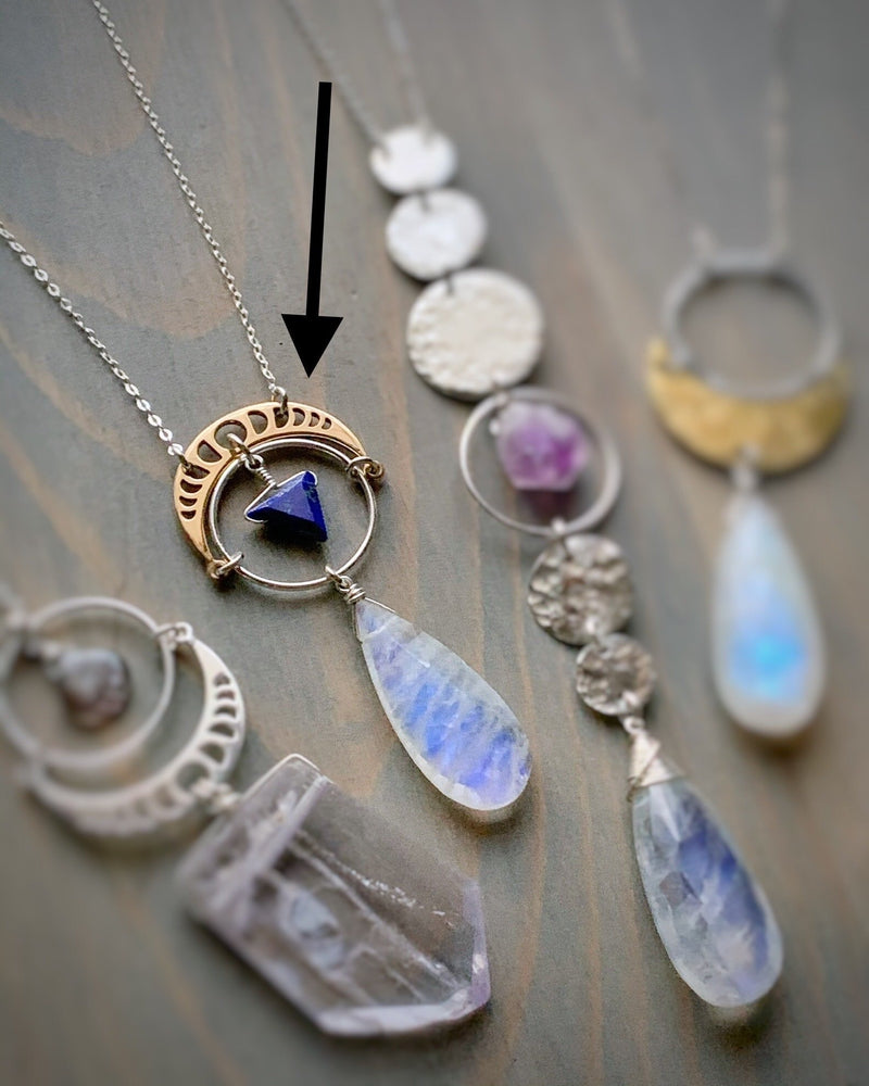 "• NYX • 16""-18"" rainbow moonstone + lapis + silver necklace"