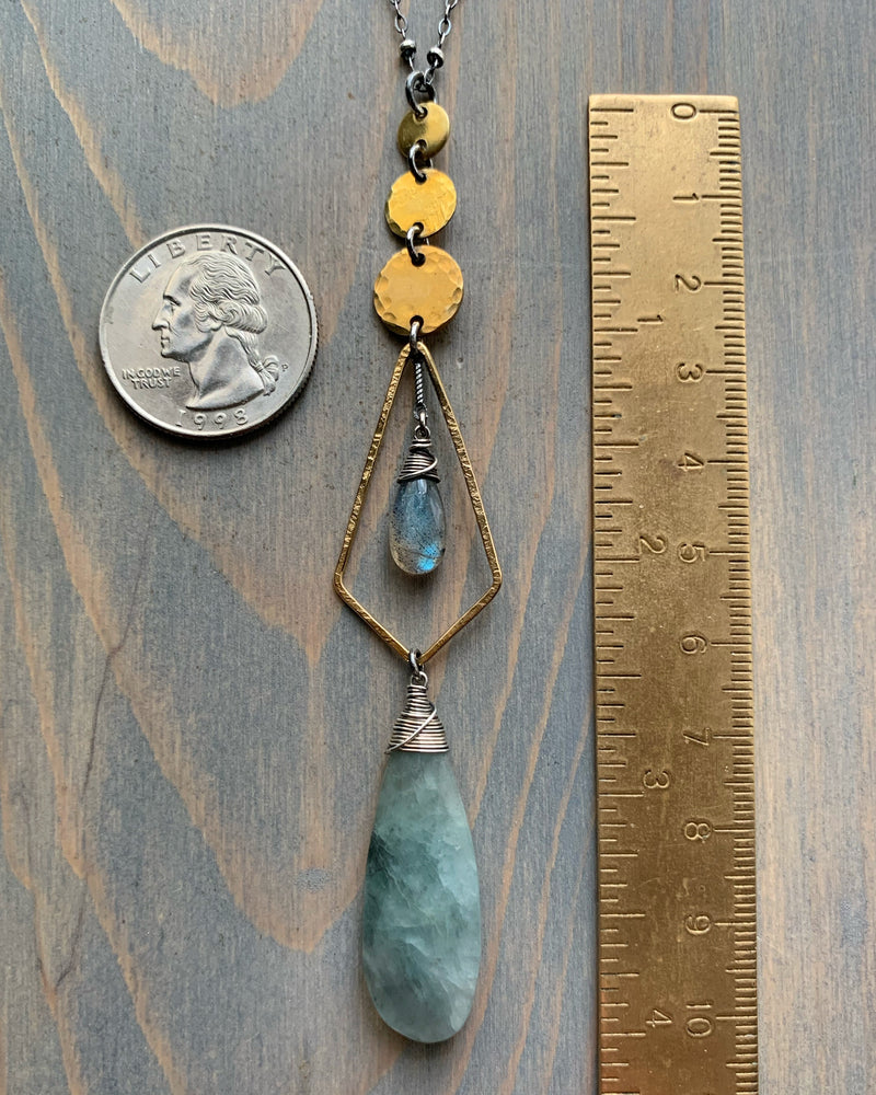 "• NYX • 28""-30"" moss aquamarine, labradorite + mixed metals necklace"