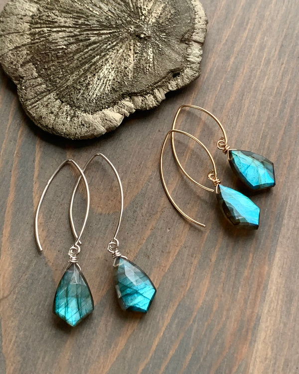 • STRAY • labradorite simple silver or gold earrings