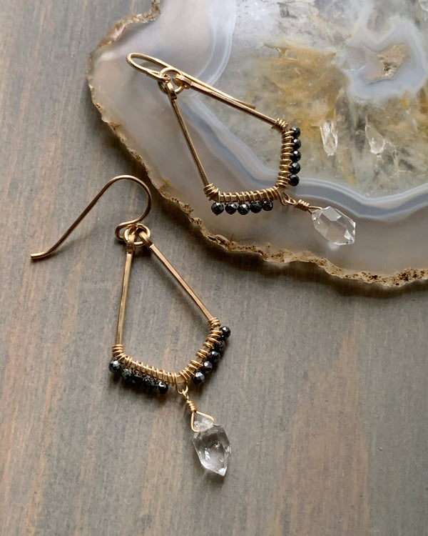 • DIAMOND KITES • herkimer + hematite gold earrings