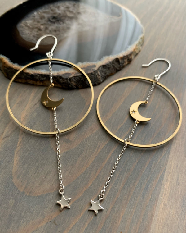 • EVENING STAR •  mixed metal hoop earrings