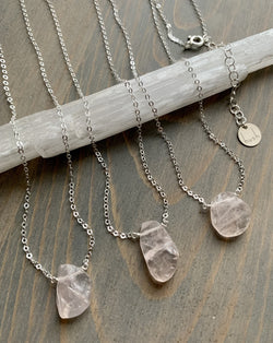- STRAY - raw rose quartz sterling silver necklace (limited)