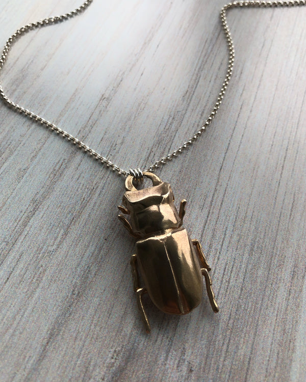 • STAG BEETLE •  bronze + silver necklace