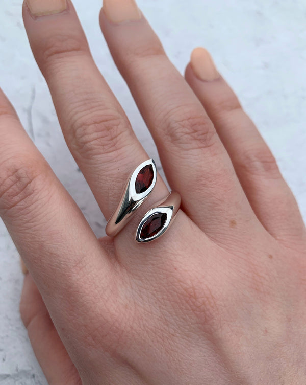 • EMBRACE • garnet adjustable sterling silver ring