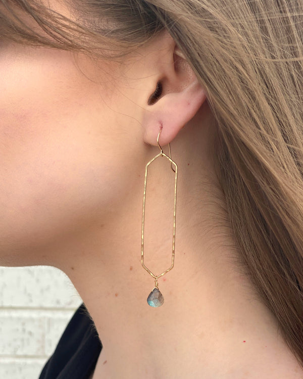 • GEOMETRIC WINDOW • labradorite + gold earrings