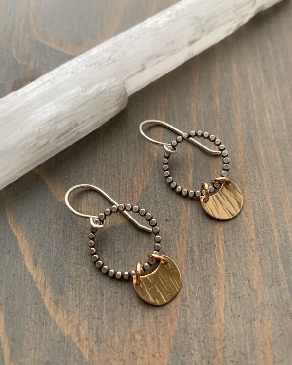 • TINY TRINITY DROP • mixed metal earrings