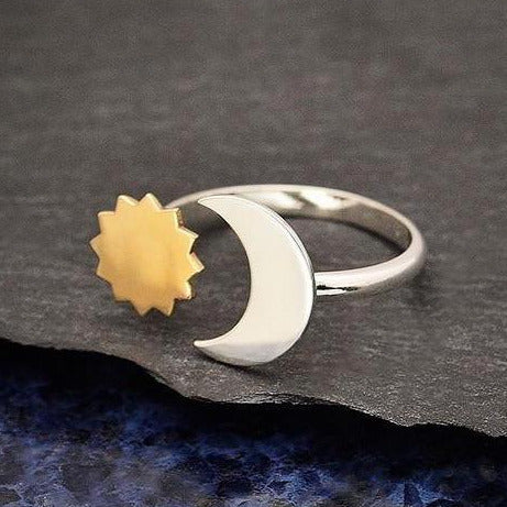 • SUN & MOON • adjustable silver + bronze ring