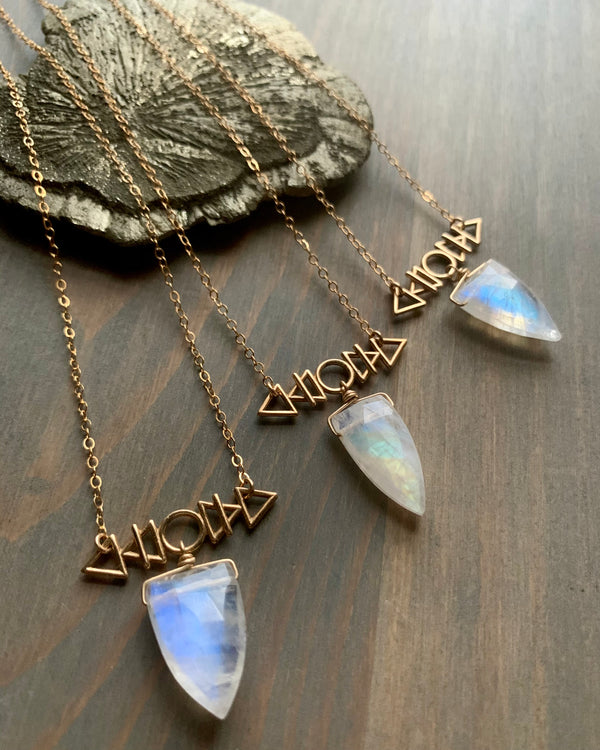 • AFEW [air, fire, earth, water] • rainbow moonstone + gold necklace