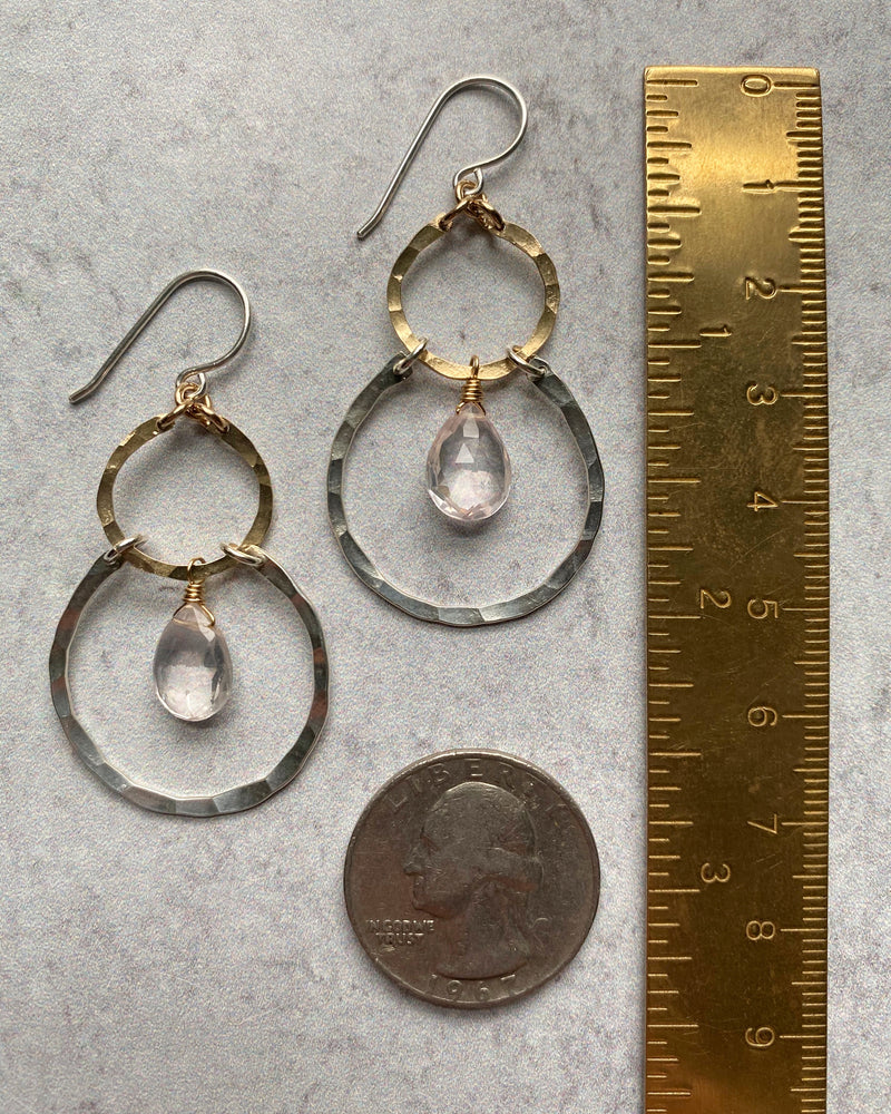 • MISHA • rose quartz + mixed metal earrings