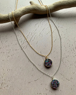 • LUSTER • silver or gold rainbow druzy necklace