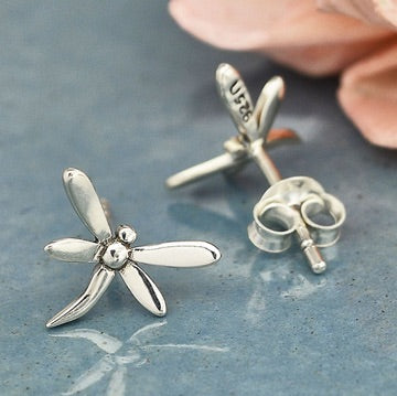 • SMALL DRAGONFLY • silver stud earrings