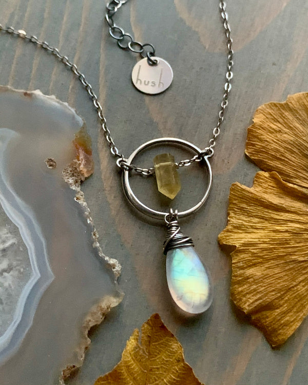 • LUNA • rainbow moonstone + citrine silver necklace -OOAK-