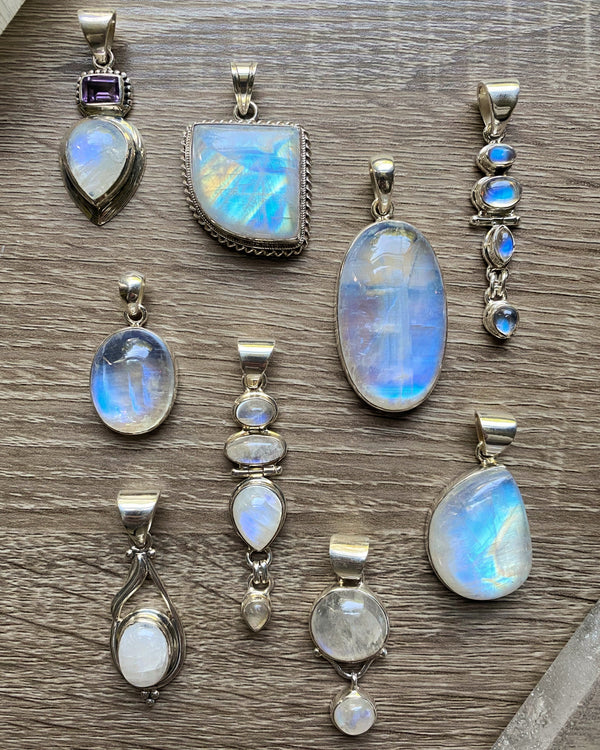 • AIR • pendants - rainbow moonstone