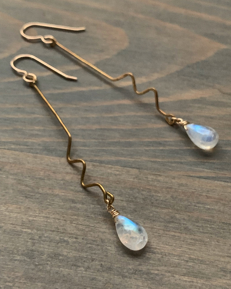 • ECHO • rainbow moonstone dangle earrings
