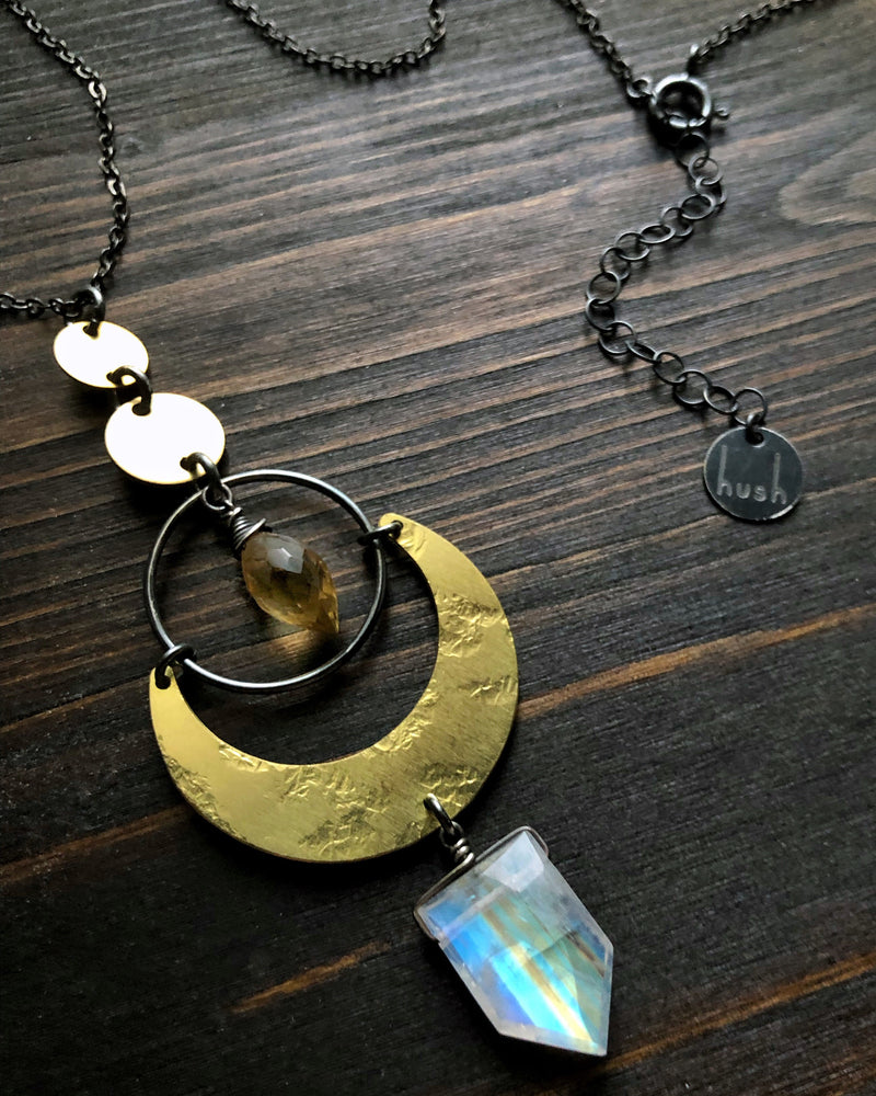• NYX • rainbow moonstone + citrine + brass necklace
