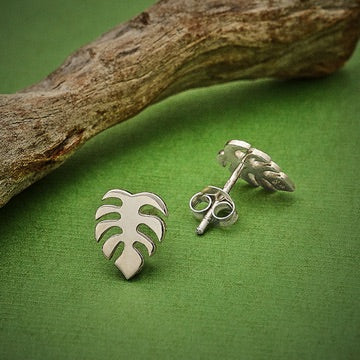 • SMALL FLAT MONSTERA • silver stud earrings