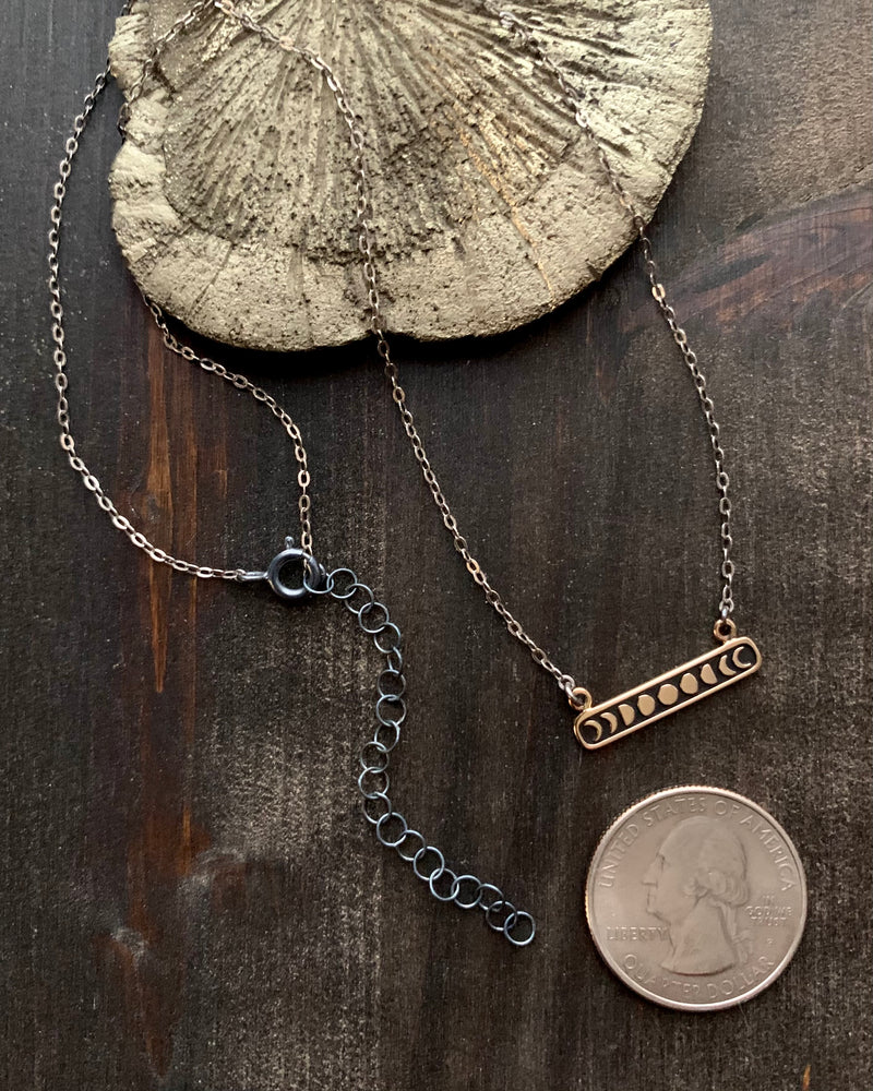 • MOON PHASE BAR •  mixed metal necklace