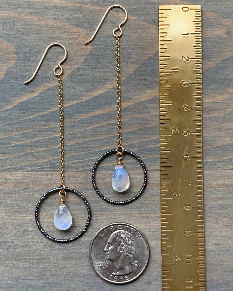 • PERIGEE • rainbow moonstone dangle earrings
