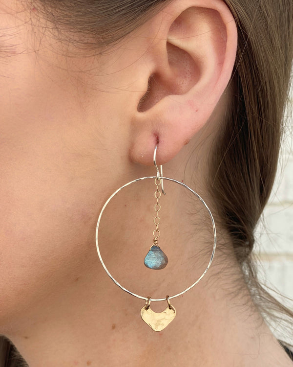 • MIST HOOPS • labradorite + mixed metal earrings