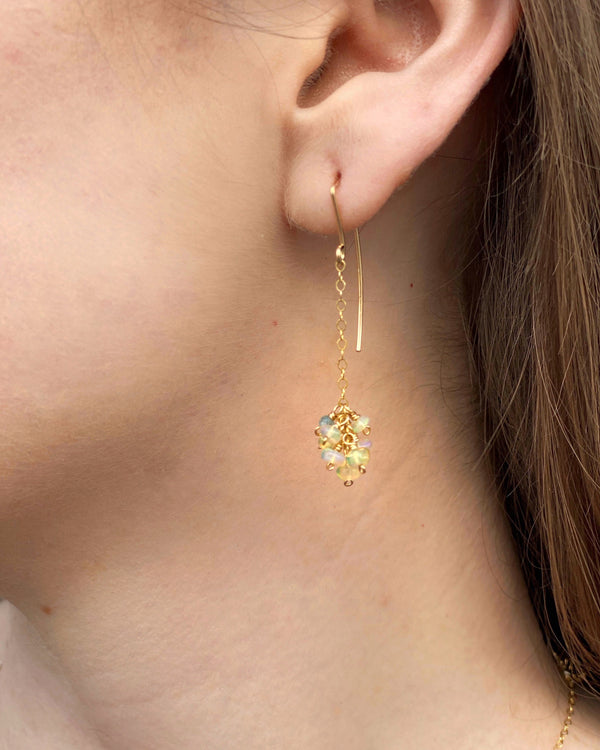 • OPAL • gem cluster + 14KGF earrings